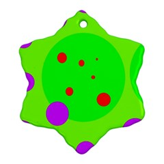 Green And Purple Dots Snowflake Ornament (2 Side) by Valentinaart