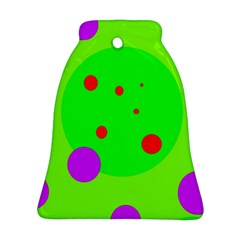 Green And Purple Dots Bell Ornament (2 Sides) by Valentinaart
