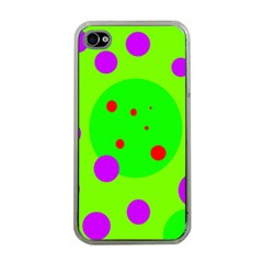 Green And Purple Dots Apple Iphone 4 Case (clear) by Valentinaart