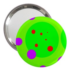 Green And Purple Dots 3  Handbag Mirrors by Valentinaart
