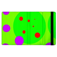 Green And Purple Dots Apple Ipad 2 Flip Case by Valentinaart