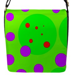 Green And Purple Dots Flap Messenger Bag (s)