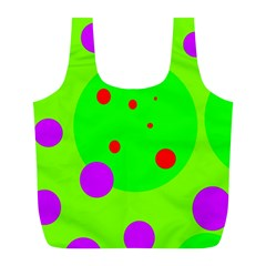 Green And Purple Dots Full Print Recycle Bags (l)  by Valentinaart