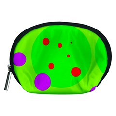 Green And Purple Dots Accessory Pouches (medium)  by Valentinaart