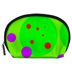 Green And Purple Dots Accessory Pouches (large)  by Valentinaart