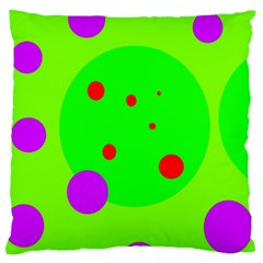 Green And Purple Dots Large Flano Cushion Case (one Side) by Valentinaart