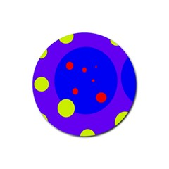 Purple And Yellow Dots Rubber Coaster (round)  by Valentinaart