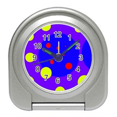Purple And Yellow Dots Travel Alarm Clocks by Valentinaart