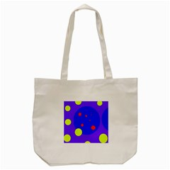 Purple And Yellow Dots Tote Bag (cream) by Valentinaart