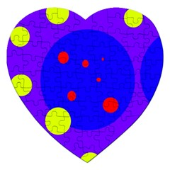 Purple And Yellow Dots Jigsaw Puzzle (heart) by Valentinaart