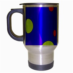 Purple And Yellow Dots Travel Mug (silver Gray) by Valentinaart