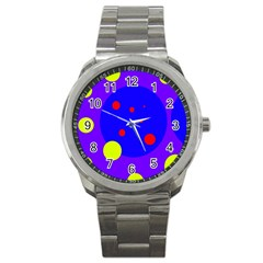 Purple And Yellow Dots Sport Metal Watch by Valentinaart
