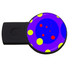 Purple And Yellow Dots Usb Flash Drive Round (4 Gb)