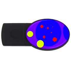 Purple And Yellow Dots Usb Flash Drive Oval (4 Gb)  by Valentinaart