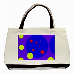 Purple And Yellow Dots Basic Tote Bag (two Sides) by Valentinaart