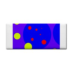 Purple And Yellow Dots Hand Towel by Valentinaart