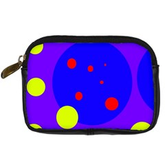 Purple And Yellow Dots Digital Camera Cases by Valentinaart