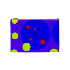 Purple And Yellow Dots Cosmetic Bag (medium)  by Valentinaart