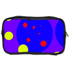 Purple And Yellow Dots Toiletries Bags 2 Side by Valentinaart