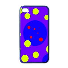 Purple And Yellow Dots Apple Iphone 4 Case (black) by Valentinaart