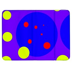 Purple And Yellow Dots Samsung Galaxy Tab 7  P1000 Flip Case by Valentinaart