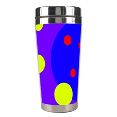 Purple And Yellow Dots Stainless Steel Travel Tumblers by Valentinaart