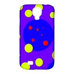 Purple And Yellow Dots Samsung Galaxy S4 Classic Hardshell Case (pc+silicone) by Valentinaart