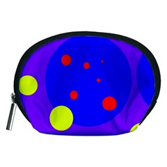 Purple And Yellow Dots Accessory Pouches (medium)  by Valentinaart