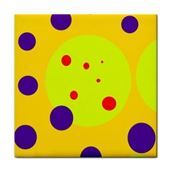 Yellow And Purple Dots Tile Coasters by Valentinaart