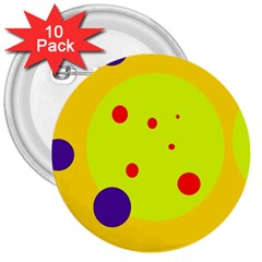 Yellow And Purple Dots 3  Buttons (10 Pack)  by Valentinaart