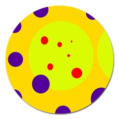 Yellow And Purple Dots Magnet 5  (round)