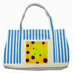 Yellow And Purple Dots Striped Blue Tote Bag by Valentinaart