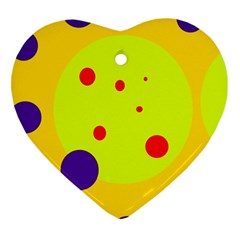 Yellow And Purple Dots Heart Ornament (2 Sides) by Valentinaart
