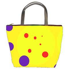 Yellow And Purple Dots Bucket Bags by Valentinaart