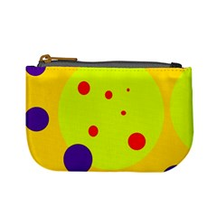 Yellow And Purple Dots Mini Coin Purses by Valentinaart