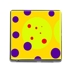 Yellow And Purple Dots Memory Card Reader (square) by Valentinaart