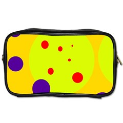 Yellow And Purple Dots Toiletries Bags by Valentinaart