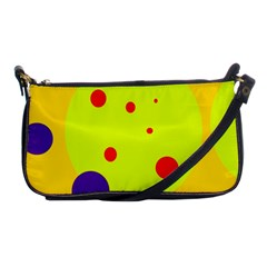 Yellow And Purple Dots Shoulder Clutch Bags by Valentinaart