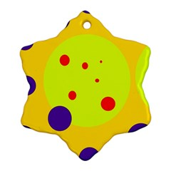 Yellow And Purple Dots Snowflake Ornament (2 Side) by Valentinaart
