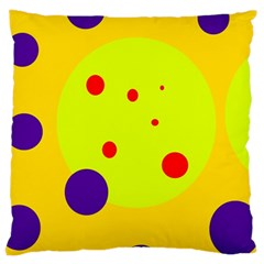 Yellow And Purple Dots Large Cushion Case (one Side) by Valentinaart