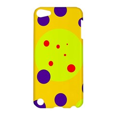 Yellow And Purple Dots Apple Ipod Touch 5 Hardshell Case by Valentinaart