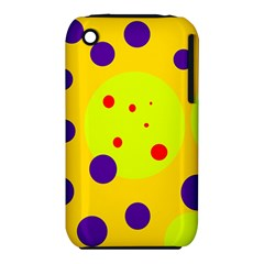 Yellow And Purple Dots Apple Iphone 3g/3gs Hardshell Case (pc+silicone) by Valentinaart