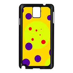 Yellow And Purple Dots Samsung Galaxy Note 3 N9005 Case (black) by Valentinaart