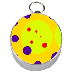 Yellow And Purple Dots Silver Compasses by Valentinaart