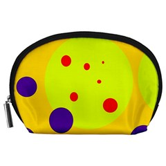 Yellow And Purple Dots Accessory Pouches (large)  by Valentinaart
