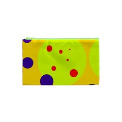 Yellow And Purple Dots Cosmetic Bag (xs) by Valentinaart