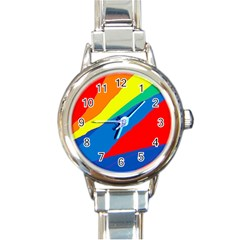 Colorful Abstract Design Round Italian Charm Watch by Valentinaart