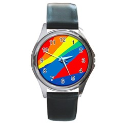 Colorful Abstract Design Round Metal Watch by Valentinaart