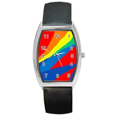 Colorful Abstract Design Barrel Style Metal Watch by Valentinaart