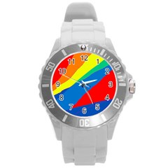 Colorful Abstract Design Round Plastic Sport Watch (l) by Valentinaart